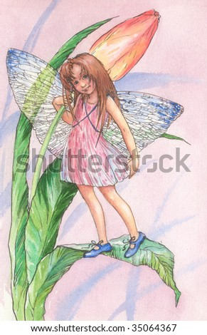 graphic illustration of a fairy - stock photo