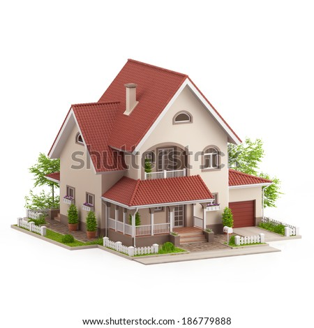 Graphic illustration of a modern house, on white background - stock photo
