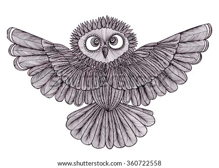 Graphic illustration of flying owl. Black and white style. Hand drawn.