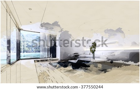 Graphic Illustration of Modern Living Room in Spacious Vacation Home with Contemporary Furniture and Large Picture Window with View of Beach and Mountains. 3d Rendering. - stock photo
