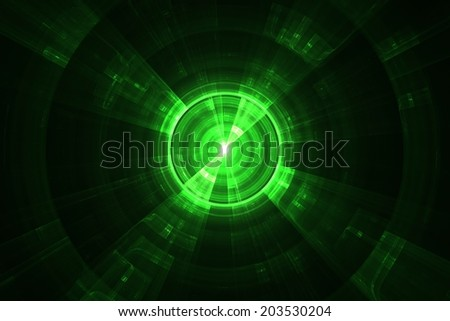 Graphic illustration of modern technology and science - also looking like a radar screen - stock photo