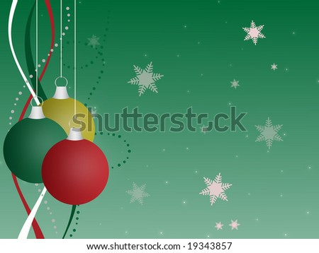 Graphic Illustration Of Multi Colored Christmas Ornaments Against A Green Gradient Background With Ribbons
