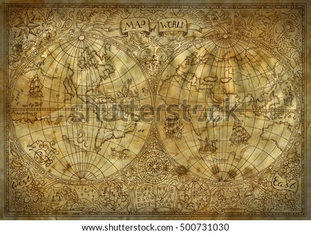 Graphic illustration of old atlas map of world on ancient paper background. Vintage or pirate adventures, treasure hunt and old transportation concept. Grunge texture and mystic symbols