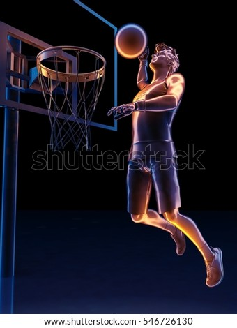 Graphic image of a man with a Ball..3d render