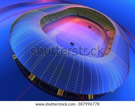 Graphic image of the stadium. - stock photo