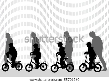 graphic kids on a bicycle. Silhouette of people