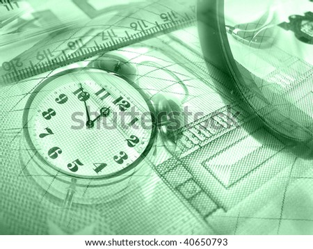 Graphic, magnifier, money and clock, collage about analysis (green).