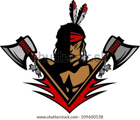 Graphic Native American Indian Brave Mascot with tomahawks and Feathers - stock photo