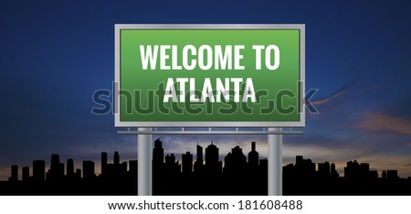 Graphic of a green Atlanta, Georgia of United States largest cities sign on silhouette skyline and sunset background - stock photo