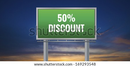 Graphic of a green 50% Discount sign on sunset background - stock photo