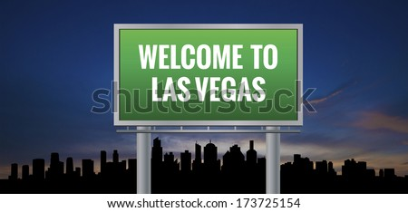 Graphic of a green Las Vegas, Nevada of United States largest cities sign on silhouette skyline and sunset background - stock photo