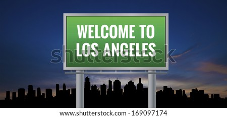 Graphic of a green Los Angeles, California of United States largest cities sign on silhouette skyline and sunset background - stock photo