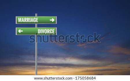 Graphic of a Marriage and Divorce Road Signs on Sunset Background - stock photo