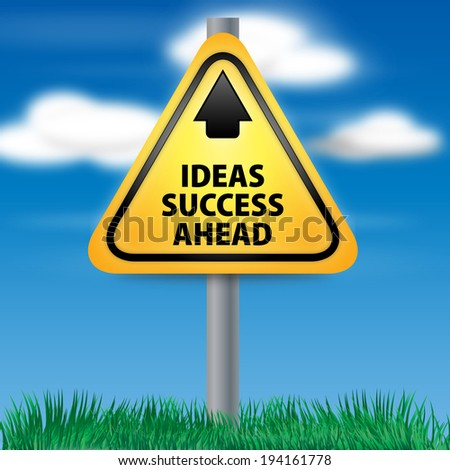 Graphic of a yellow Ideas Success Ahead Road Sign on Cloud Background - stock photo
