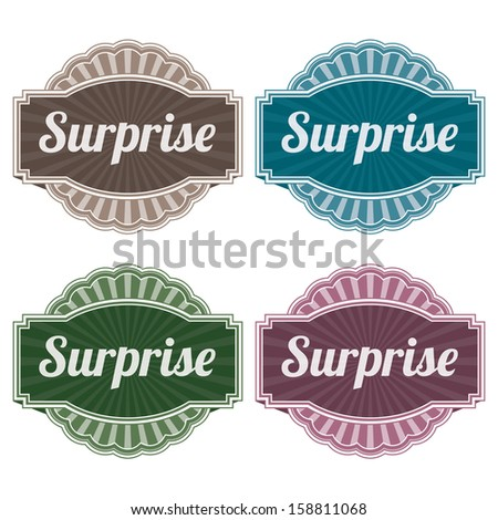 Graphic or Marketing Materials For Marketing Campaign, Promotion or Sale Event Present By Colorful Vintage Style Surprise Icon or Badge Isolated on White Background  - stock photo