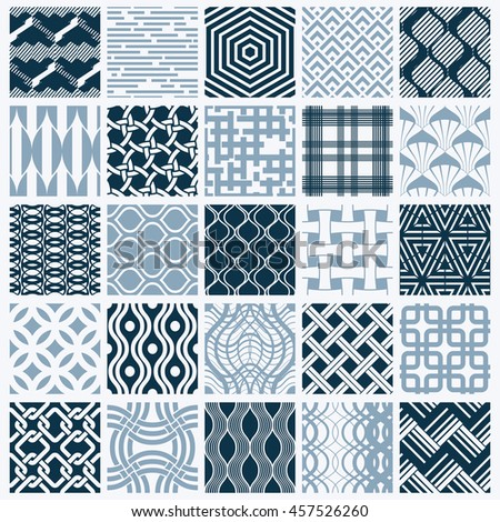 Graphic ornamental tiles collection, set of monochrome repeated patterns. Vintage art abstract textures can be used as wallpapers.