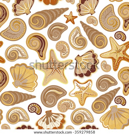 Graphic pattern with sand gold seashells and stars on white background. Hand drawing. Seamless for fabric design, gift wrapping paper and printing and web projects.