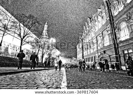 Graphic pencil sketch of the entrance street to Red Square in Moscow