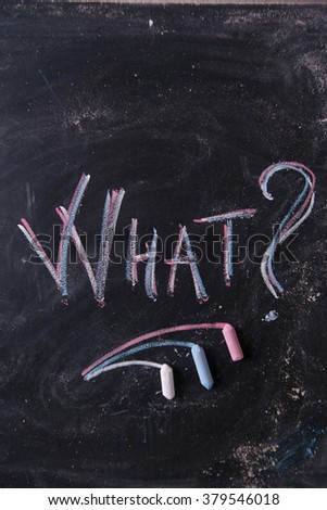 Graphic representation of the word with chalk on the blackboard what