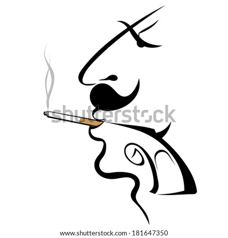 Graphic silhouette of a man with a gun - stock photo