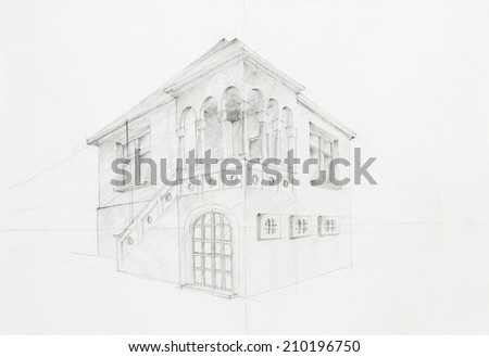 graphic sketch, architectural perspective of old house, drawn by hand - stock photo