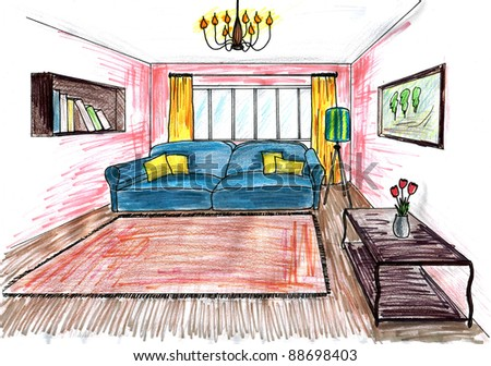 Graphic sketch,  living room - stock photo