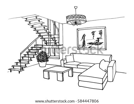 Graphic Sketch, Living Room With A Ladder On The Second Floor, Liner