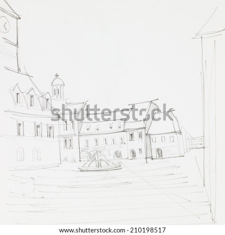 graphic sketch of Council Square in Brasov, Romania, drawn by hand