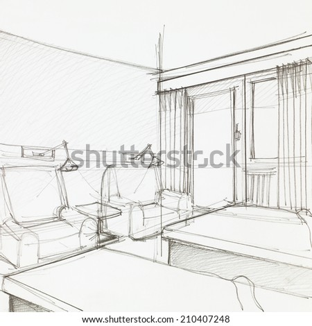 graphic sketch of hotel room with two armchairs and single beds, drawn by hand - stock photo