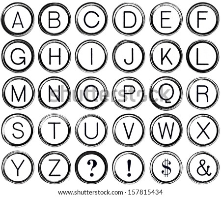 Graphic style alphabet from antique typewriter keys including question mark, exclamation, dollar sign and ampersand.  Isolated on white.   - stock photo