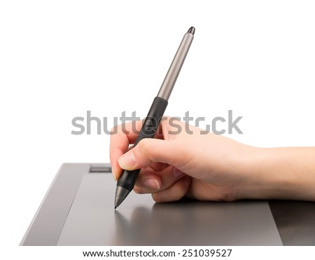 Graphic tablet, hand and feather isolated on white