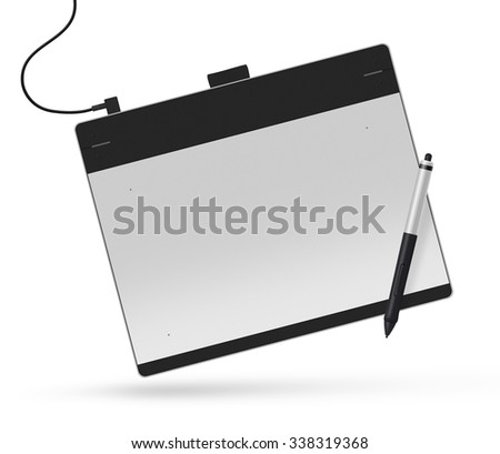 Graphic tablet with stylus illustration. Big picture of digitizer device with digital pen isolated on white. Creative draw tool for designers. Icon of tablet display near multimedia pencil sketching. - stock photo