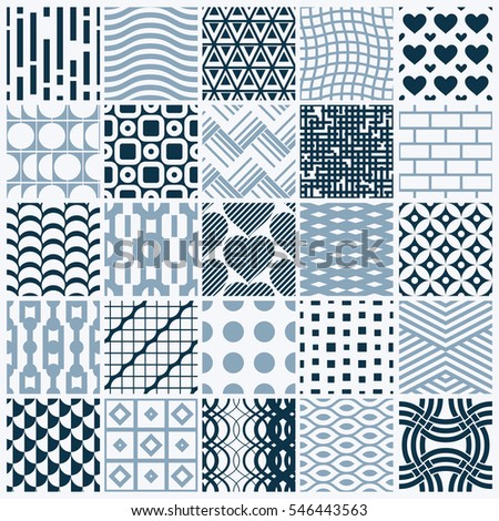 graphic vintage textures created with squares, rhombuses and other geometric shapes. Monochrome seamless patterns collection best for use in textiles design.