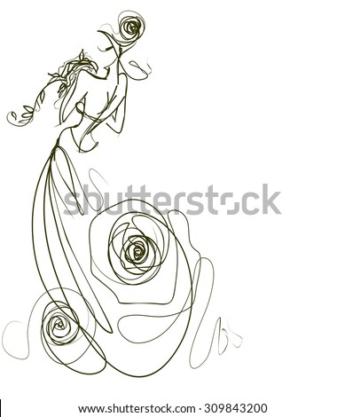 graphic with beautiful young   girl model for design. Fashion, style, youth,   beauty,  . Graphic, sketch drawing. Sexy woman.  groom, bride, fiancée, clothes,  dress. rose,  - stock photo