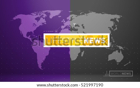Graphical Digital World News background, Earth Globe Inside Big Flat TV Screen Modern Studio Abstract  lifestyle
