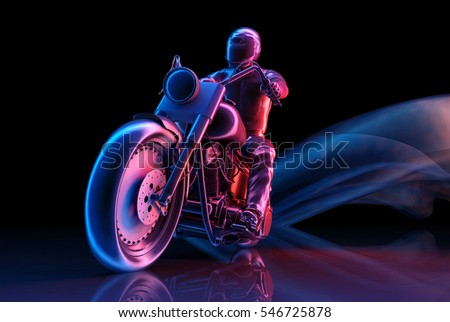 Graphical representation of the rider on a black background.,3d render