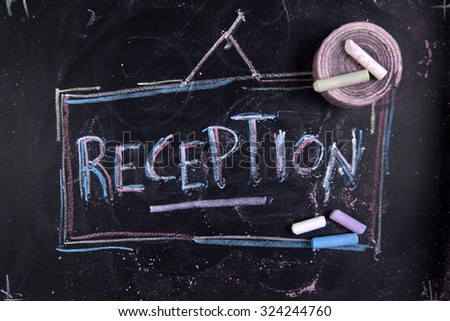 Graphical representation of written receipt, performed with chalk on blackboard