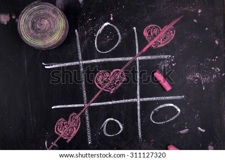 Graphical representation with chalk on blackboard Game tris - stock photo