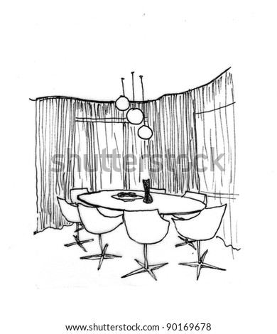 Graphical sketch of an interior living room, liner - stock photo