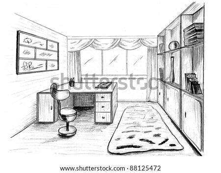 Graphical sketch, private office - stock photo
