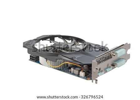 Graphics card of computer is isolated on the white background. All potential trademarks are removed - stock photo