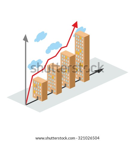 3d Illustration Graph Showing Financial Growth Stock