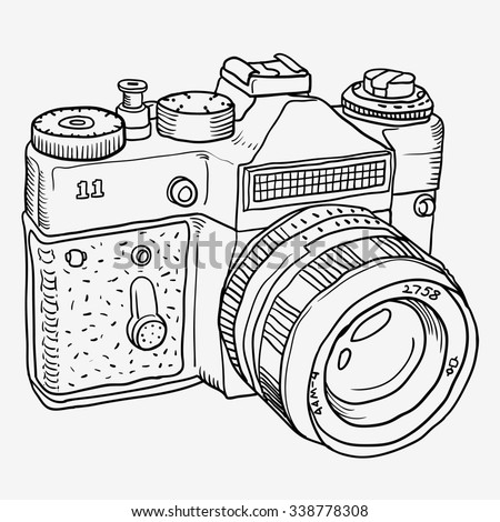 Graphics Doodle outline old camera isolated on white background - stock photo
