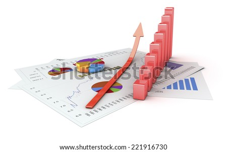 Graphics isolated 3d financial analysis - stock photo