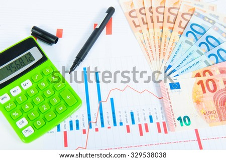 Graphics of forex with calculator, pen and euro bills - stock photo