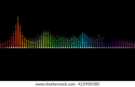 Graphics of music equalizer on black background
