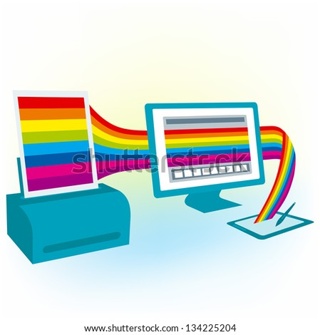 graphics tablet drawing design pc computer monitor printer copy colorful blank (Raster copy of vector) - stock photo