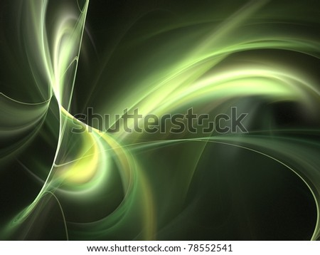 Graphics texture. Computer rendered background. 3D fractal. Green wave abstract. - stock photo