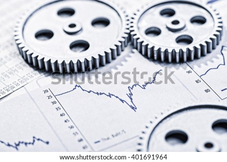 Graphics with curves and three gearwheels - stock photo