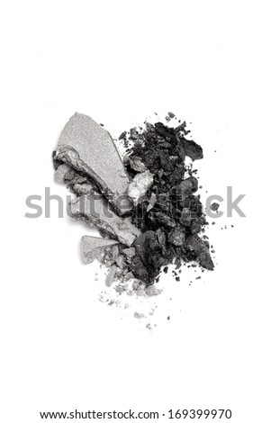 Graphite and gray duo eyeshadow crushed isolated on white background